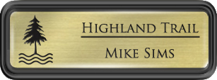 Framed Name Tag: Black Plastic (rounded corners) - Euro Gold and Black Plastic Insert with Epoxy