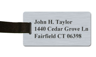Smooth Plastic Luggage Tag: Brushed Aluminum with Black - LM922-354