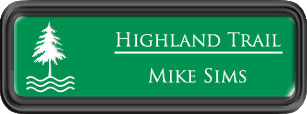 Framed Name Tag: Black Plastic (rounded corners) - Kelley Green and White Plastic Insert