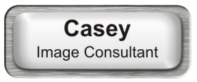 Metal Name Tag: White with Epoxy and Brushed Silver Metal Border
