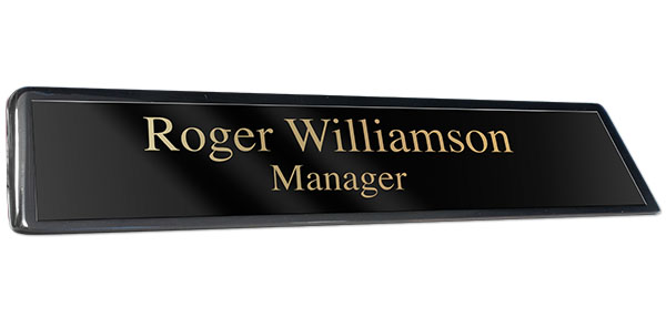 Black Piano Finish Desk Plate with Black Plate with Gold Engraving