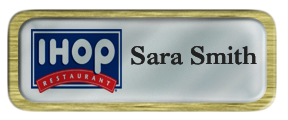 Metal Name Tag: Shiny Silver with Brushed Gold Metal Border