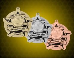 2 1/4 inch Language Arts Super Star Medals