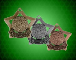 2 1/4 inch Basketball Star Medals