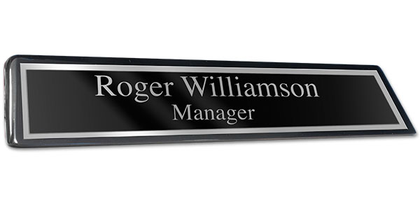 Black Piano Finish Desk Plate with Black Plate and Shiny Silver Border