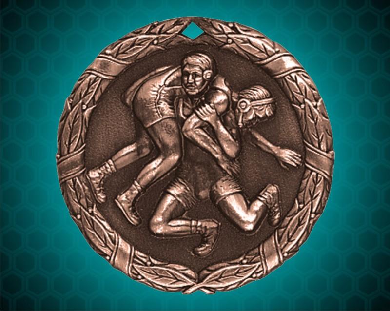 1 1/4 inch Bronze Wrestling XR Medal