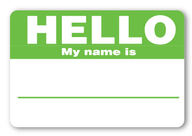 Sticker Hello My Name is Green Name Tags