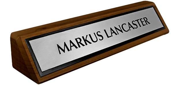 Solid Walnut Desk Plate - Brushed Silver Metal Plate with Black Border