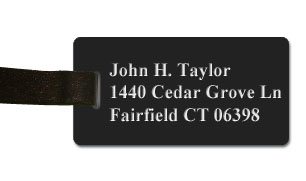 Smooth Plastic Luggage Tag: Black with White - LM922-402