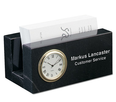 2 1/4 x 4 1/4 x 2 1/2 Inch Jet Black Business Card Mini Clock Paperweight