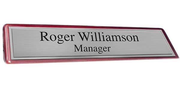 Rosewood Piano Finish Desk Plate - Brushed Silver Plate and Shiny Silver Border
