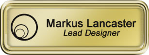 Framed Name Tag: Gold Plastic (rounded corners) - Shiny Gold and Black Plastic Insert with Epoxy
