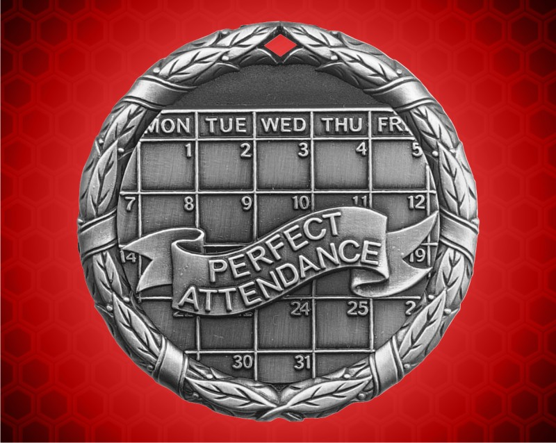 1 1/4 inch Silver Perfect Attendance XR Medal
