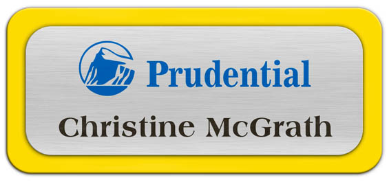 Metal Name Tag: Brushed Silver Metal Name Tag with a Yellow Plastic Border