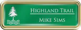Framed Name Tag: Gold Plastic (rounded corners) - Kelley Green and White Plastic Insert with Epoxy