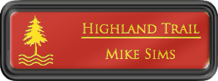 Framed Name Tag: Black Plastic (rounded corners) - Crimson and Yellow Plastic Insert with Epoxy