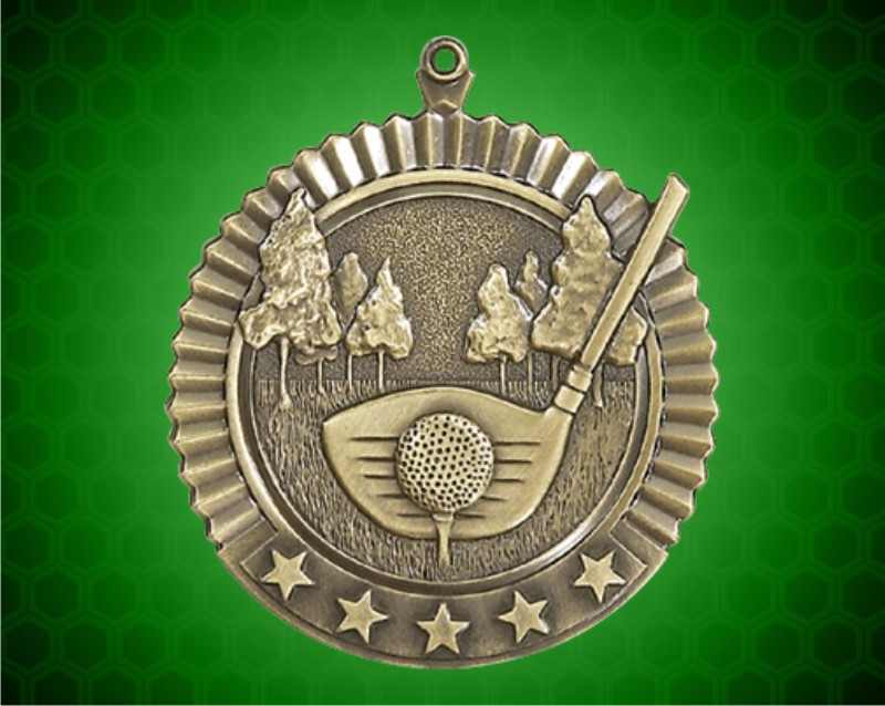 2 3/4 inch Gold Golf Star Medal