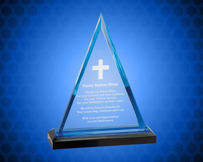 7 3/4 inch Blue Triangle Impress Acrylic