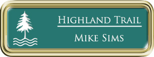 Framed Name Tag: Gold Plastic (rounded corners) - Celadon Green and White Plastic Insert