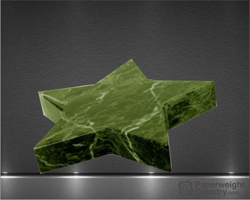 3/4 x 5 x 5 Inch Green Marble Star Paperweight