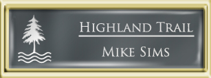 Framed Name Tag: Gold Plastic (squared corners) - Smoke Grey and White Plastic Insert with Epoxy