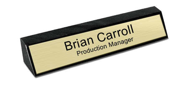 Black Marble Desk Name Plate - Brushed Gold Metal Plate