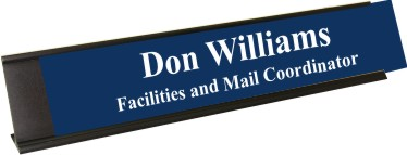 Patriot Blue Plastic Plate with White Text, Black Deskplate