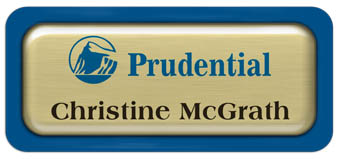 Metal Name Tag: Brushed Gold Metal Name Tag with a Blue Plastic Border and Epoxy