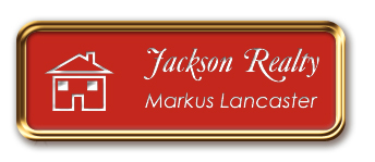 Rose Gold Metal Framed Nametag with Crimson and White