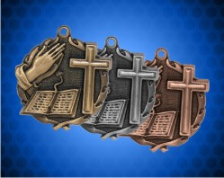 1 3/4 Inch Bible Cross Wreath Medal