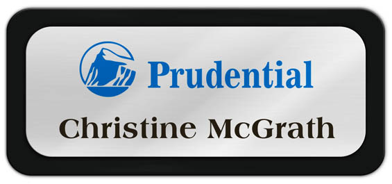 Metal Name Tag: Shiny Silver Metal Name Tag with a Black Plastic Border