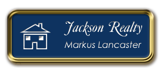 Gold Metal Framed Nametag with Patriot Blue and White