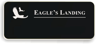 Blank Smooth Plastic Name Tag with Logo: Black and White - LM922-402