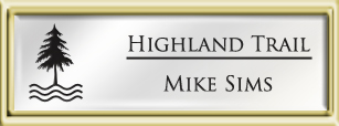 Framed Name Tag: Gold Plastic (squared corners) - White and Black Plastic Insert with Epoxy