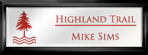 Framed Name Tag: Black Plastic (squared corners) - White and Crimson Plastic Insert with Epoxy