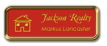 Framed Name Tag: Gold Metal (rounded corners) - Crimson and Yellow Plastic Insert with Epoxy