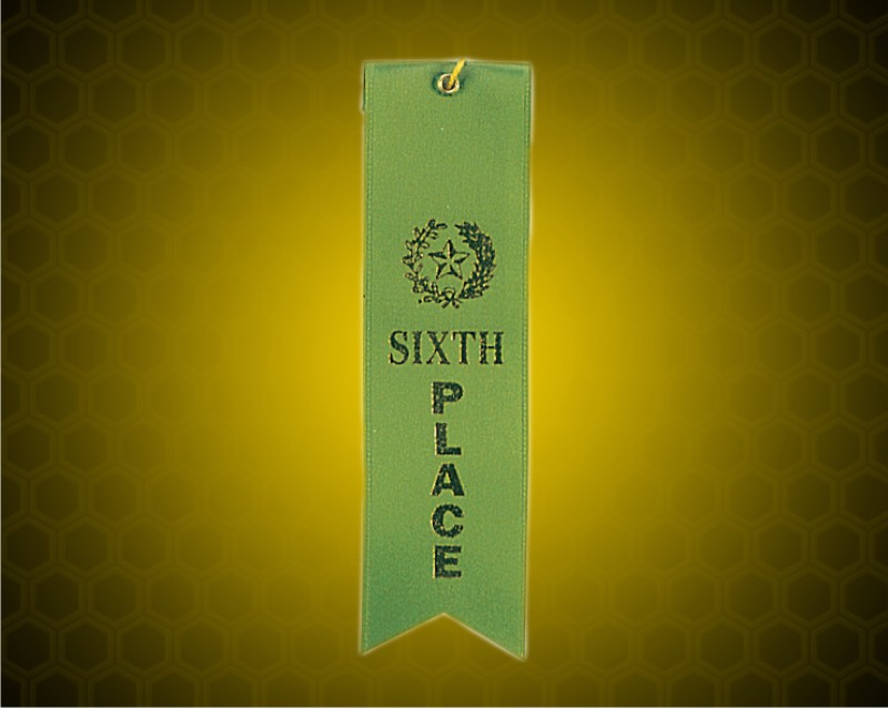 Green 6th Place Carded Ribbon