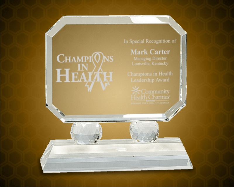 7 Inch Rectangle Crystal On Clear Pedestal Base
