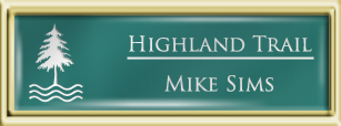Framed Name Tag: Gold Plastic (squared corners) - Celadon Green and White Plastic Insert with Epoxy