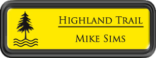 Framed Name Tag: Black Plastic (rounded corners) - Canary Yellow and Black Plastic Insert