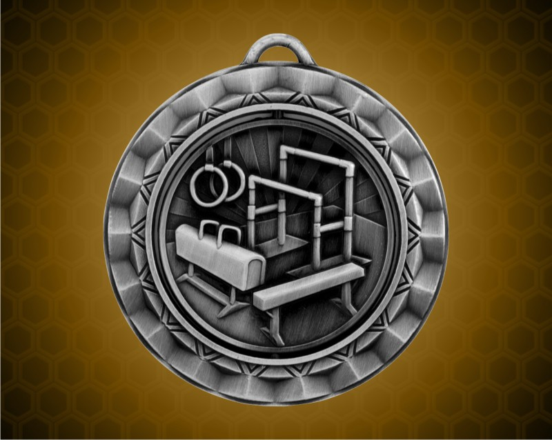 2 5/16 inch Silver Gymnastics Spinner Medal