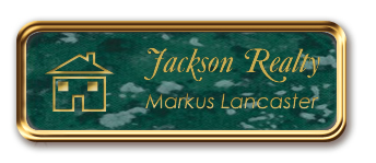 Rose Gold Metal Framed Nametag with Verde and Gold