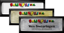 Square Cornered Plastic Black Framed Name Tags with Epoxy