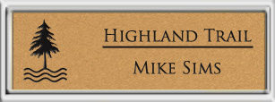 Framed Name Tag: Silver Plastic (squared corners) - Smooth Gold and Black Plastic Insert