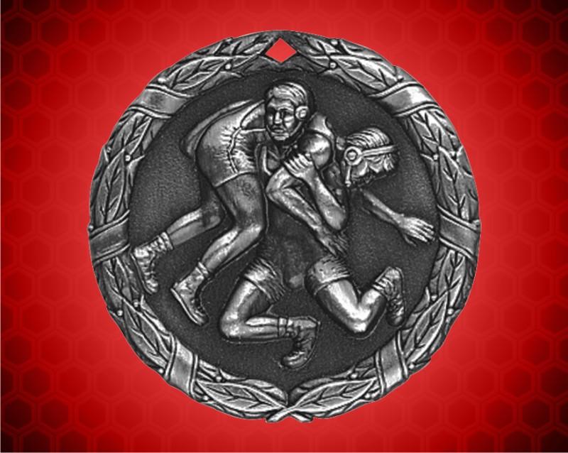 1 1/4 inch Silver Wrestling XR Medal