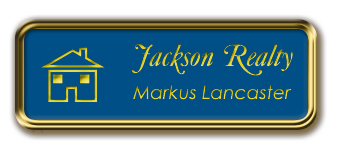 Gold Metal Framed Nametag with Sky Blue and Yellow