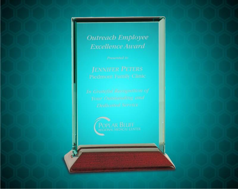 4 x 6 inch Beveled Rectangle Jade Glass Award with Piano Finish Base