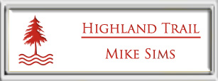 Framed Name Tag: Silver Plastic (squared corners) - White and Crimson Plastic Insert