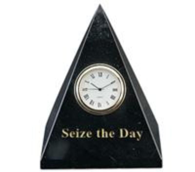 4 3/4 x 3 1/2 x 3 1/2 Inch Jet Black Pyramid Clock Paperweight