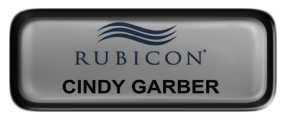 Metal Name Tag: Shiny Silver with Epoxy and Black Metal Border